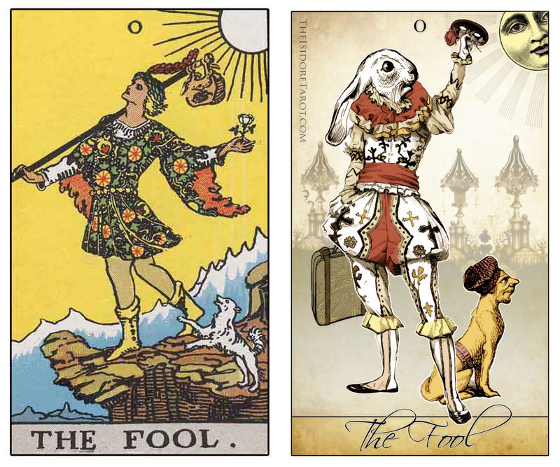 The Isidore Tarot compared to the Rider Waite Smith -The Fool