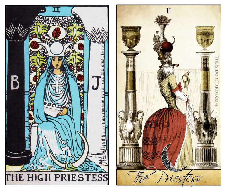 The Isidore Tarot compared to the Rider Waite Smith - The High Priestess