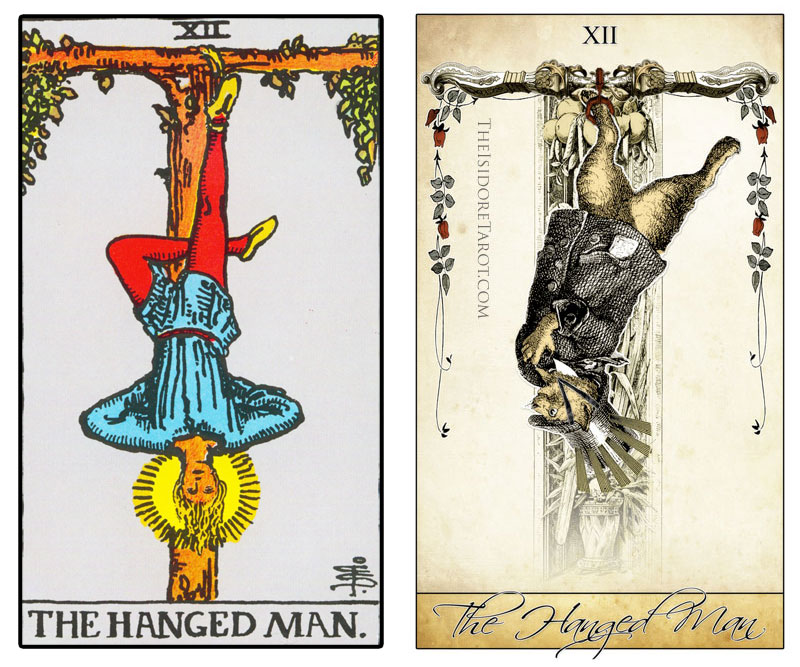The Isidore Tarot compared to the Rider Waite Smith - The Hanged Man