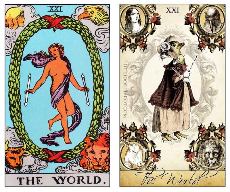The Isidore Tarot compared to the Rider Waite Smith - The World