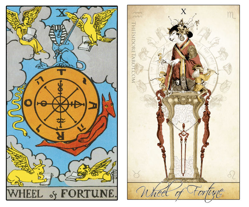 The Isidore Tarot compared to the Rider Waite Smith - The Wheel of Fortune