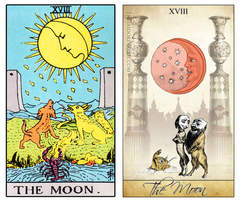 The Isidore Tarot compared to the Rider Waite Smith - The Moon