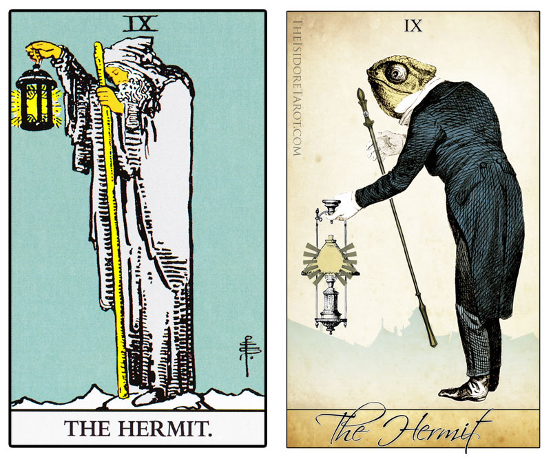The Isidore Tarot compared to the Rider Waite Smith - The Hermit