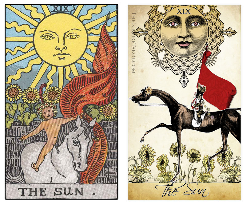 The Isidore Tarot compared to the Rider Waite Smith - The Sun