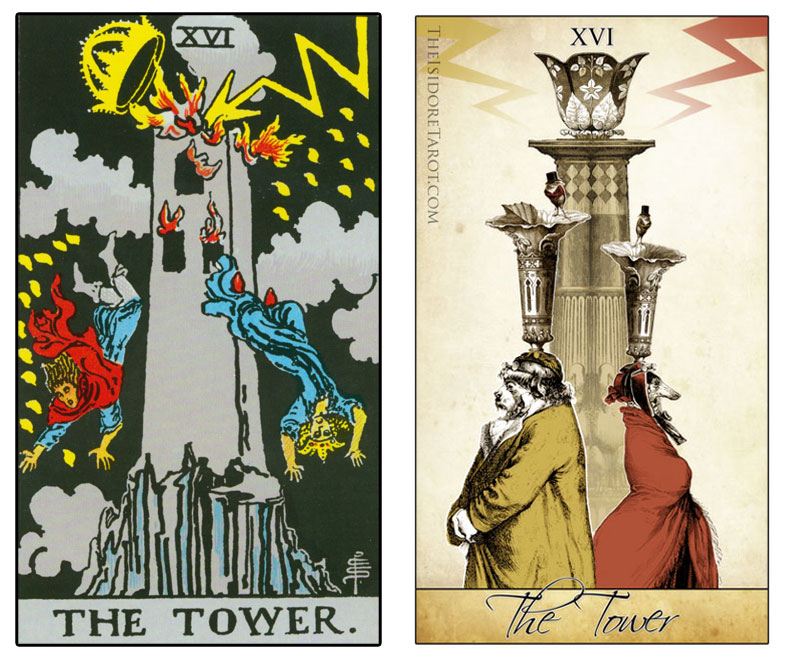 The Isidore Tarot compared to the Rider Waite Smith - The Tower