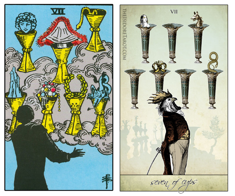 The Isidore Tarot compared to the Rider Waite Smith - Seven of Cups