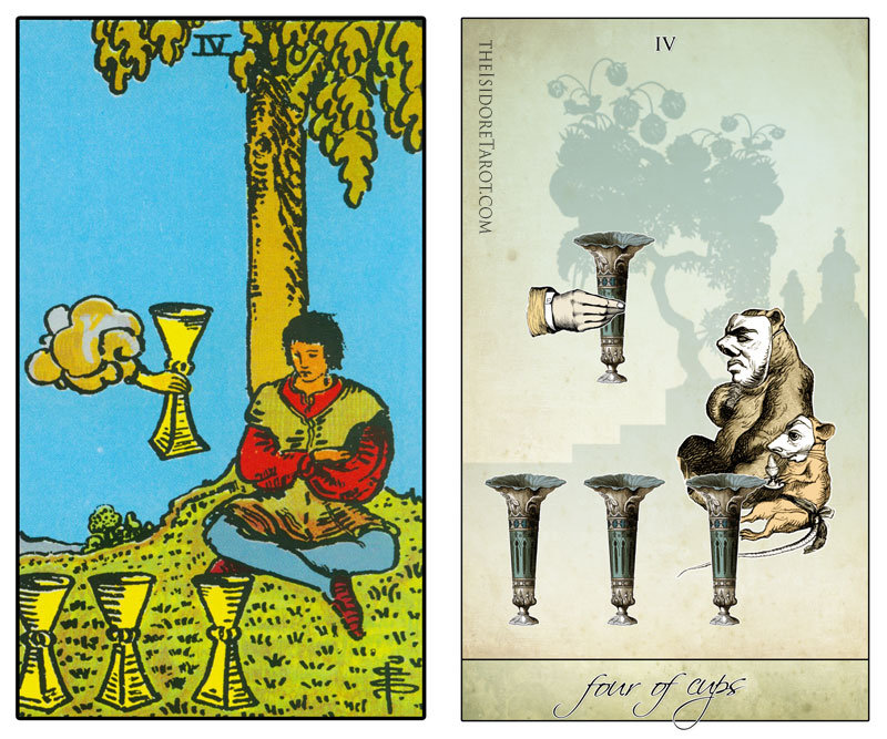 The Isidore Tarot compared to the Rider Waite Smith - Three of Cups