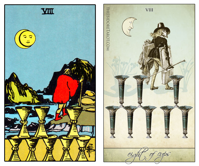 The Isidore Tarot compared to the Rider Waite Smith - Eight of Cups