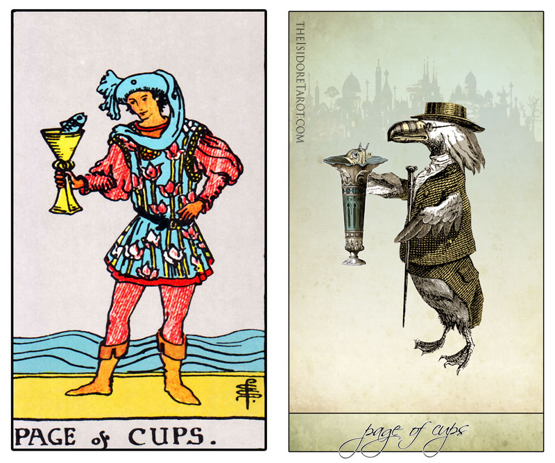 The Isidore Tarot compared to the Rider Waite Smith - The Page of Cups