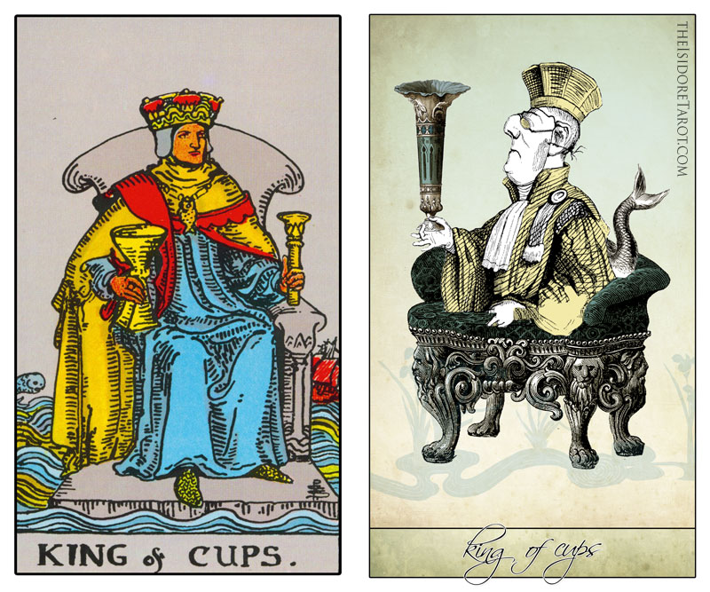 The Isidore Tarot compared to the Rider Waite Smith - The King of Cups
